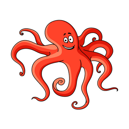 Red cartoon octopus with long tentacles hunting on the bottom of the ocean.