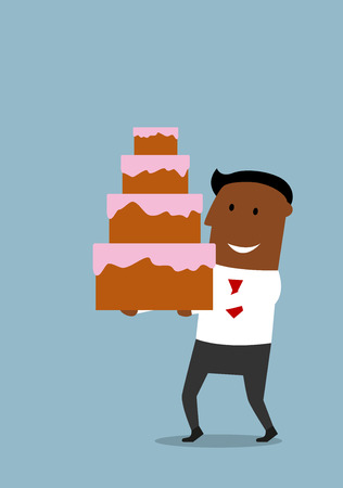 african business: Joyful cartoon african american businessman with happy smile carrying the tall cream cake with white icing and pink glaze.