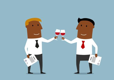 clink: African american cartoon business partners toasting with red wine to celebrate a successful contract signing or partnership agreement.