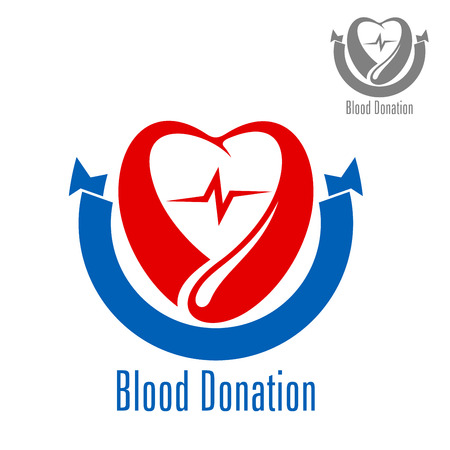 transfuse: Blood donation icon with stylized heart, carefully encircled by red drop of blood and blue ribbon banner.