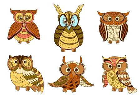 buhos: b�hos lindos de la historieta, polluelos y aves b�ho real con plumas ornamentales, decoradas por tiras y puntos en colores pastel.