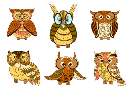 Cute cartoon owls, owlets and eagle owl birds with ornamental feathers, decorated by strips and spots in pastel colors.