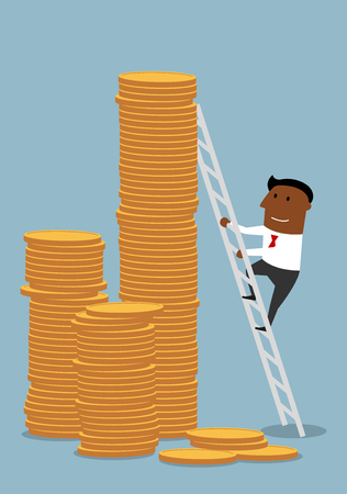 climb: Lucky african american businessman climbing up to stacks of golden coins, to achieve wealth and success