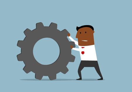 dark skinned: Cartoon confident dark skinned businessman pushing a gear wheel toward the goal. Illustration