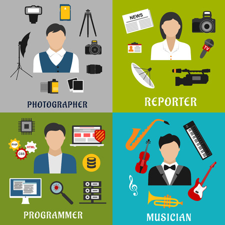 newsman: Creative professions flat icons of musician with musical instruments, photographer and reporter with digital equipment, photos and newspaper, programmer with computer, PC security, programming code and viruses Illustration