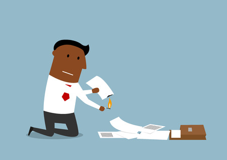 destroy: Upset cartoon businessman burning up paper and documents, contracts and invoices with matches. Illustration