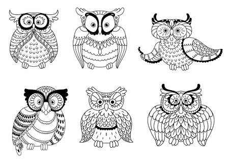 talon: Colorless decorative owls, cute little owlets and old wise eagle owls with ornamental wings and big eyes.
