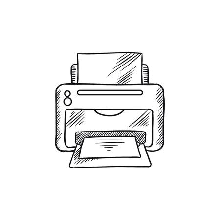 Desktop inkjet printer with paper. Illustration