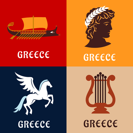 culture: Culture, history and mythology flat icons of ancient Greece with winged Pegasus, greek athlete with laurel wreath, elegant lyre and war galley Illustration