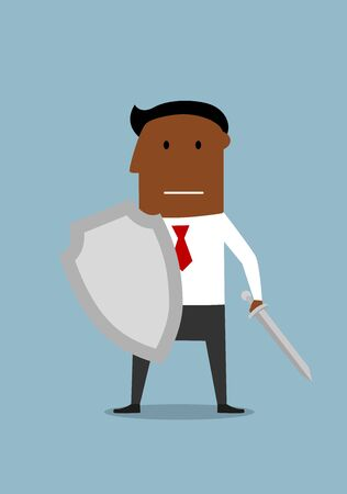defence: Brave businessman warrior with shield and sword ready for defense.