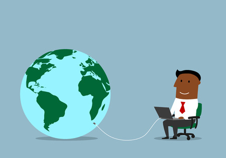 database: Cartoon businessman working on a laptop computer, connected to a huge globe as symbol of the global network