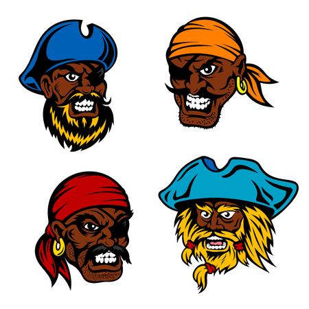 filibuster: Angry and dangerous dark skinned cartoon marine pirates