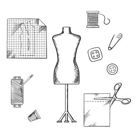 thimble: Tailoring and sewing sketched icons and objects with mannequin, scissors, safety pin, needle, threads, buttons, thimble, fabric and paper drawing Illustration