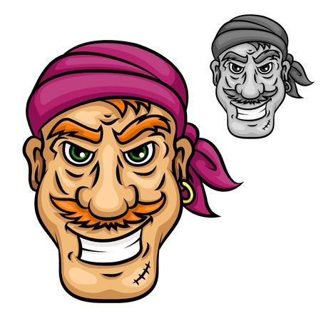 brutal: Cartoon brutal smiling pirate