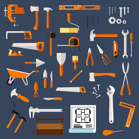 toolbox: Construction and repair hand tools flat icons