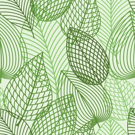 foliage: Seamless pattern of outline spring foliage with green leaves of birch. Interior wallpaper, background, accessories and fabric or textile design usage