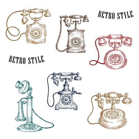 magneto: Sketches of old-fashioned telephones with vintage stylized handsets, magneto handle and rotary dials. Telecommunication concept usage