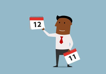 last year: Friendly smiling cartoon businessman holding last page of wall calendar. Last month of the year or important date concept Illustration