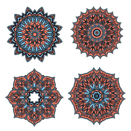 dainty: Circular retro floral patterns of pastel red and blue abstract flowers, with dainty cyan petals, tendrils and flourishes. Great use for vintage lace embellishment and tile design Illustration