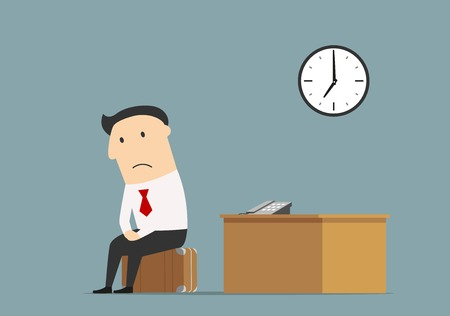 Unemployment, jobless or professional crisis theme concept. Frustrated dismissed manager sitting on briefcase at empty office after being fired Stock Illustratie