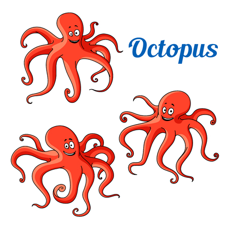 Happy and funny cartoon red octopuses with wavy tentacles. Funny sea animal characters for mascot or t-shirt print design usage