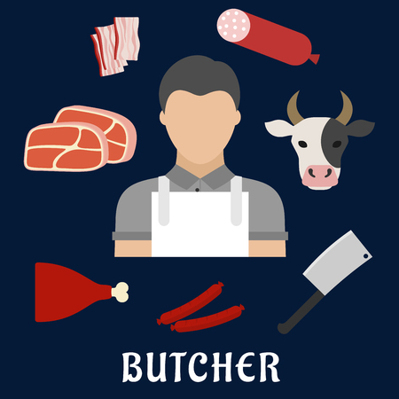 Butcher man in white apron with fresh beef steaks, pork leg, cleaver, salami, smoked sausages, sliced bacon and cow head. Butcher profession concept