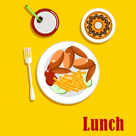 frosted: American fast food lunch menu elements with chicken wings, french fries, served on a plate with ketchup and sliced fresh cucumber vegetable, chocolate frosted doughnut and sweet soda with drinking straw. Flat style