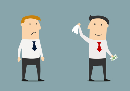 competitor: Cartoon winner businessman leaving his competitor without any money. The winner gets everything concept
