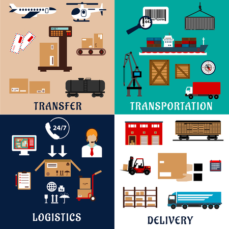 freight transportation: Freight transportation, shipping, storage, delivery and logistics flat icons.