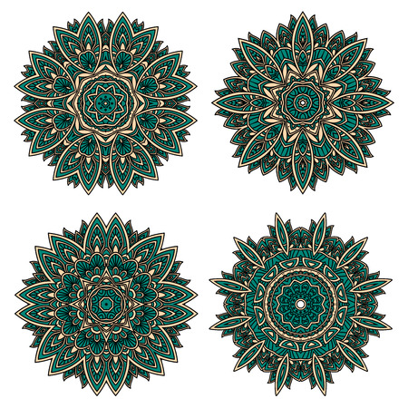 Abstract circular floral patterns of emerald lace flowers, densely packed with ornamental petals and leaves. Decorative patterns for tile, carpet design or interior elements Иллюстрация