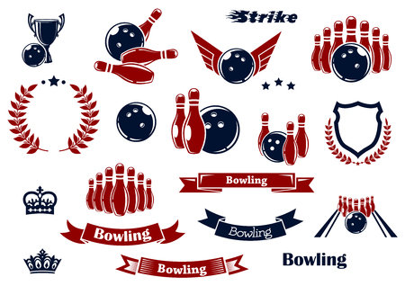 tournament: Bowling sport game items for sporting club or tournament emblems design with ninepins, balls, lane and trophy cup, heraldic shield with laurel wreaths, ribbon banners, crowns and stars