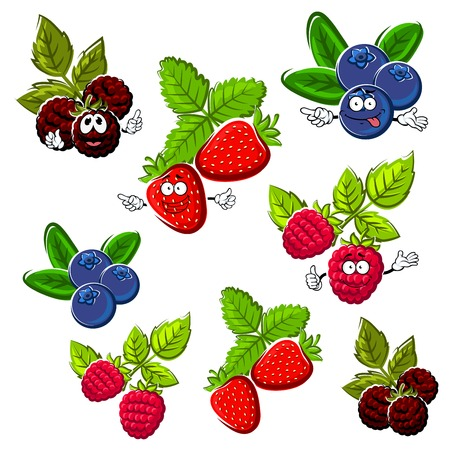 Cartoon happy red strawberry, raspberry, blueberry and blackberry fruits with green leaves. Bright berries for healthy dessert, recipe book or agriculture design