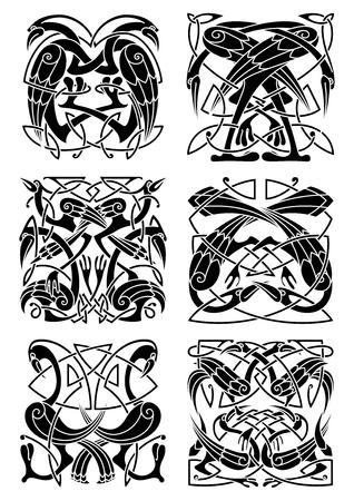 adornos célticos medievales con garzas, cigüeñas y grúas complementados con modelos de nudo tradicionales. Gran uso para el tatuaje, embellecimiento de época o camiseta de la impresión Ilustración de vector