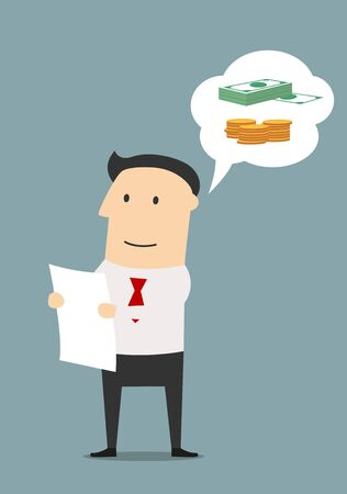 businessmen: Smiling cartoon businessman carefully reading the business contract and dreaming about future profit.