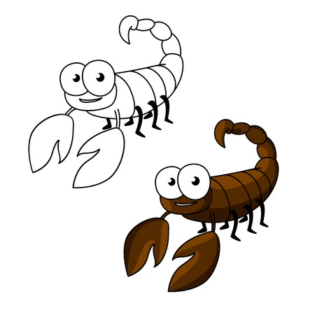 cartoon scorpion: Cute little brown scorpion cartoon character with curved tail, ending with stinger.