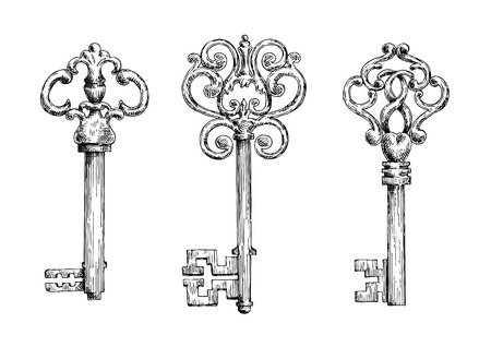 forged: Elegant vintage skeleton keys sketches with bows, adorned by ornamental forged elements with curlicues.