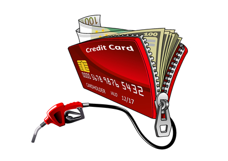 unzip: Full of money open red credit card with connected gasoline pump nozzle.