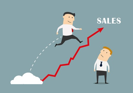 confident: Confident businessman jumping up to success over a growing sales. Illustration