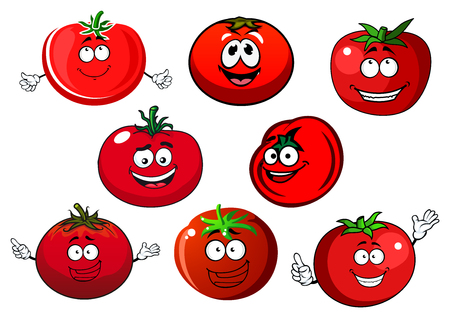 tomatoes: Happy cartoon ripe red tomato vegetables characters with curly green stalks.