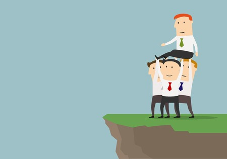 cliffs: Cohesive business team of successful cartoon businessmen are getting rid of boss or competitor.