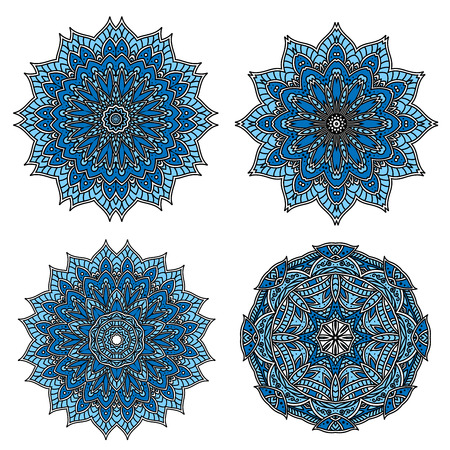 dainty: Blue and cyan circular patterns of star shaped flowers with dainty floral openwork ornament.
