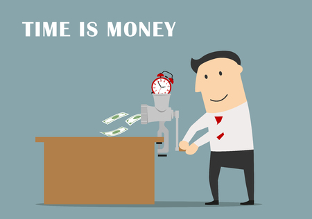 making money: Time is money business concept. Smart and confident businessman making money from a time with clocks using retro grinder Illustration