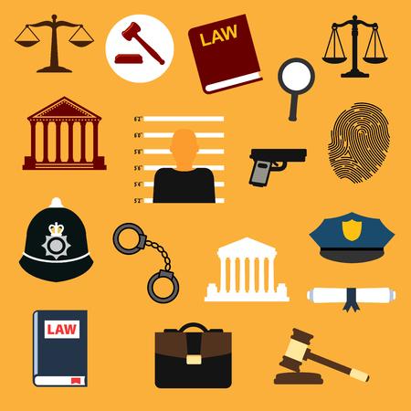 gorra policía: establecen ley, la justicia y de la policía plana iconos.