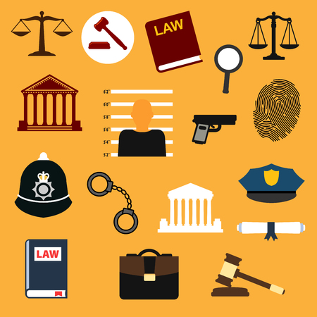 criminal law: Law, justice and police flat icons set.