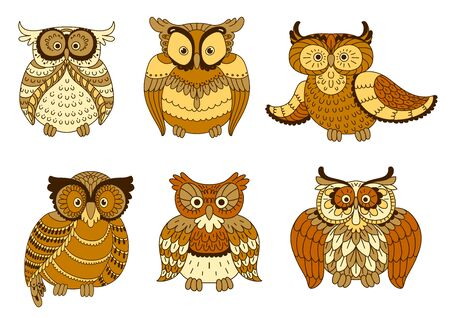 plumage: Cartoon forest owl birds with brown and yellow spotted plumage and big eyes.