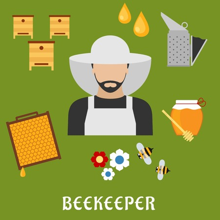 apiculture: Beekeeper profession flat icons.