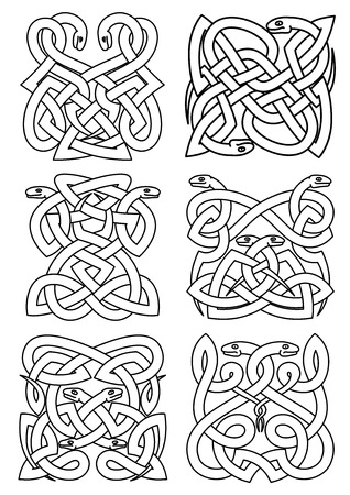 coiled: Gothic celtic animal patterns of coiled snakes in traditional knot ornaments. Vintage embellishment, totem, pattern,  tattoo or t-shirt print usage