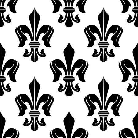 victorian wallpaper: Elegant seamless fleur-de-lis pattern with black and white victorian stylized floral ornament. Vintage interior textile, accessories or wallpaper design usage