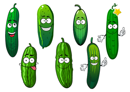 Green ripe cucumber vegetables cartoon characters. Healthy vegetables for agriculture harvest, recipe book and vegetarian food design