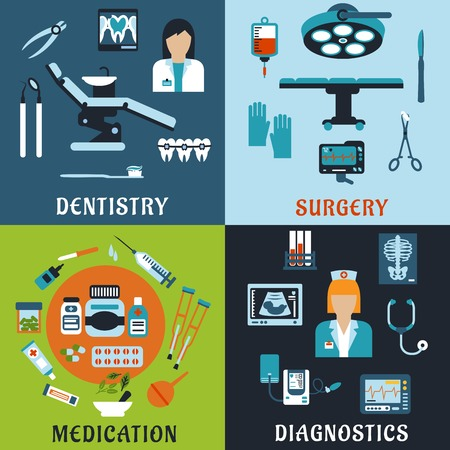 equipment: Dentistry, surgery, diagnostic medicine and pharmacology flat icons. Dentist and therapist, doctor, medical equipment, diagnostic elements, drugs and pills, tools, medicine bottles and medication items